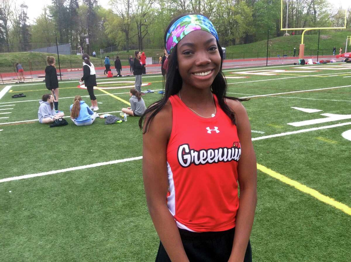 Greenwich High School junior Jada Williams won the 100-meter dash and long jump events in the Cardinals' meet against Ridgefield and Stamford on Monday, April 29, 2019 in Greenwich.
