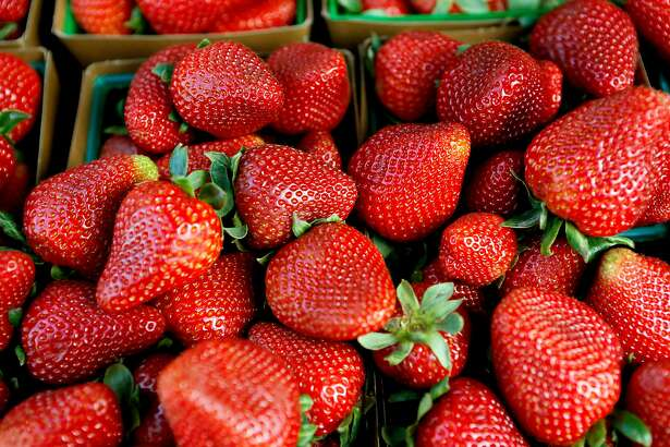 The strawberries at the Ferry Plaza Farmers Market on Tuesday, April 30, 2019, in San Francisco, Calif. Starting May 1, people who receive Supplemental Security Income (SSI) are eligible to apply for CalFresh. Among the places they can be redeemed is the Ferry Plaza Farmers Market.