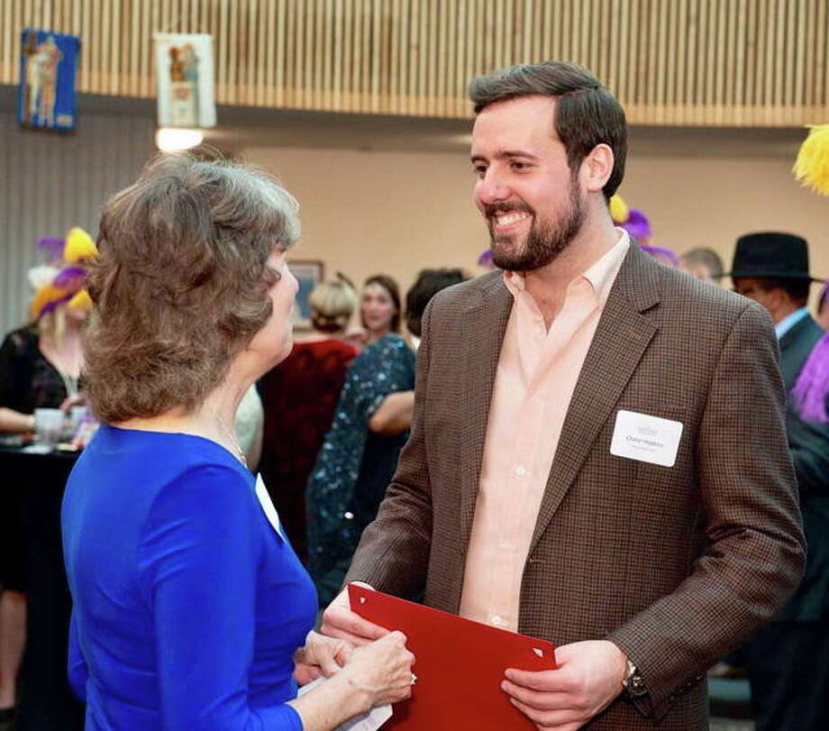 Opera Edwardsville founder Chase Hopkins, right, after recently receiving the Meridian Society award for a children's opera program. Photo: For The Intelligencer