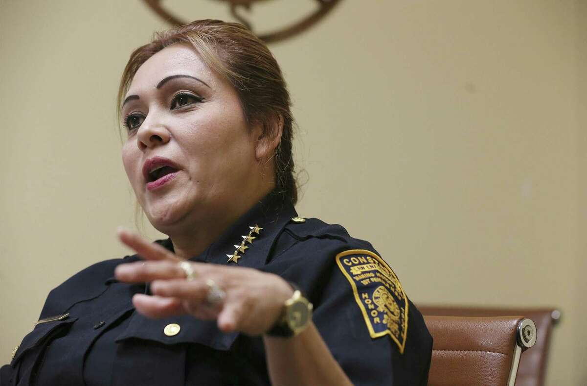 Interview with Precinct 2 Constable Michelle Barrientes Vela on Tuesday, Apr. 30, 2019 to address several issues and controversies surrounding her and her office. (Kin Man Hui/San Antonio Express-News)