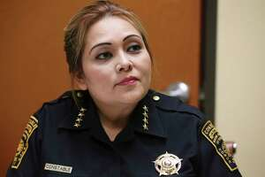 Precinct 2 Constable Michelle Barrientes Vela is pictured April 30, 2019, during an interview with the San Antonio Express-News to address several issues and controversies surrounding her actions in office.
