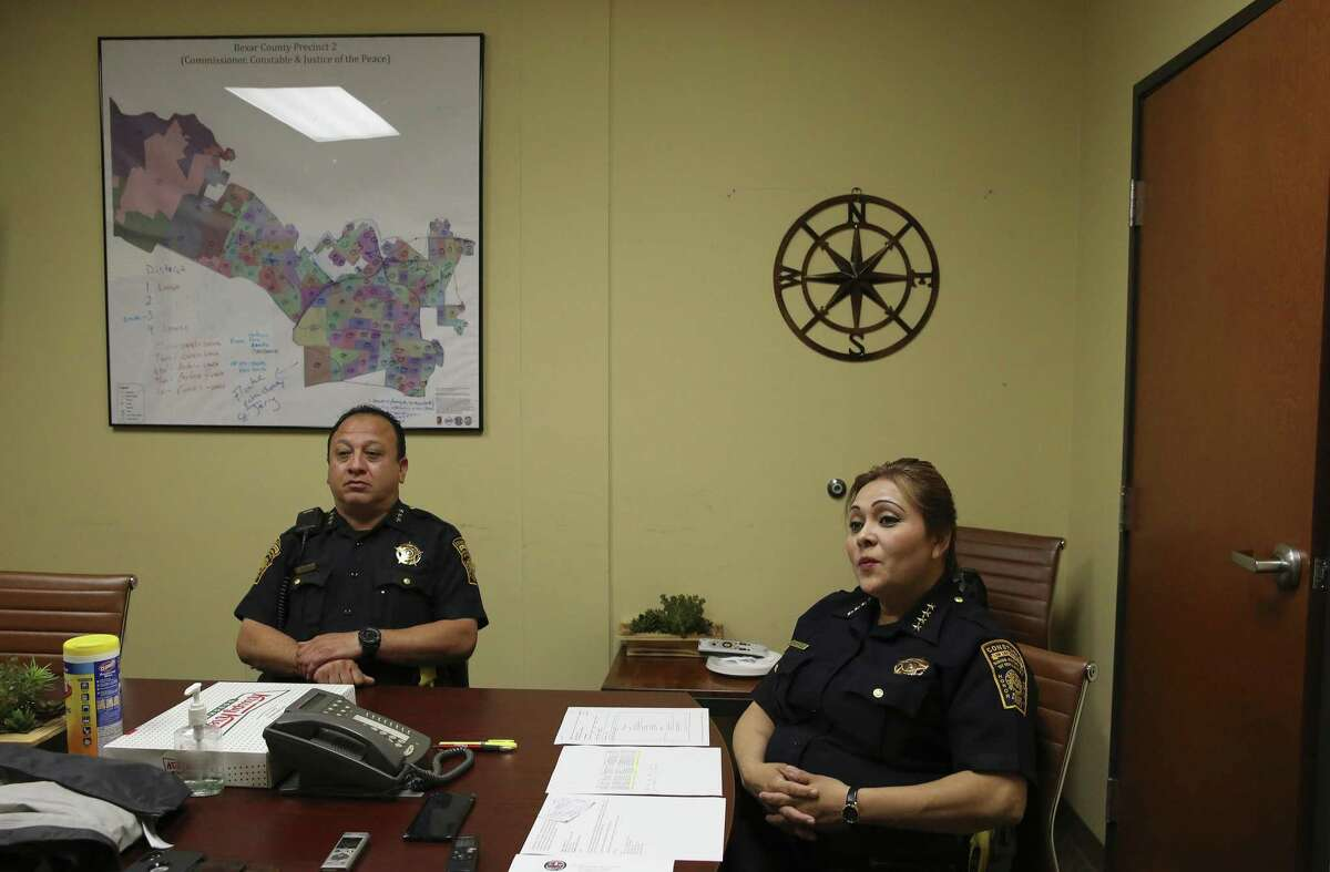Interview with Precinct 2 Constable Michelle Barrientes Vela (right) and her Constable Chief Anthony Castillo on Tuesday, Apr. 30, 2019 to address several issues and controversies surrounding Vela and her office. (Kin Man Hui/San Antonio Express-News)