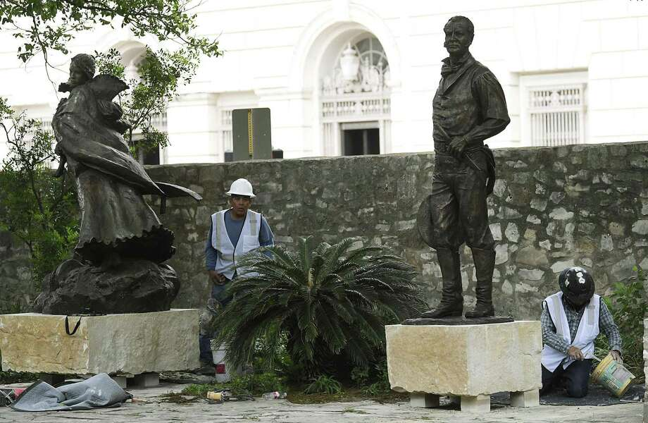 Statues of 1836 Battle of the Alamo personalities are placed in Cavalry Courtyard on the Alamo shrine grounds on Tuesday, April 30, 2019. The bronze sculptures include William Barret Travis, John William Smith, David Crockett, James Bowie, Susanna Dickinson and Jose Antonio Navarro. Photo: Billy Calzada, Staff / Staff Photographer / San Antonio Express-News
