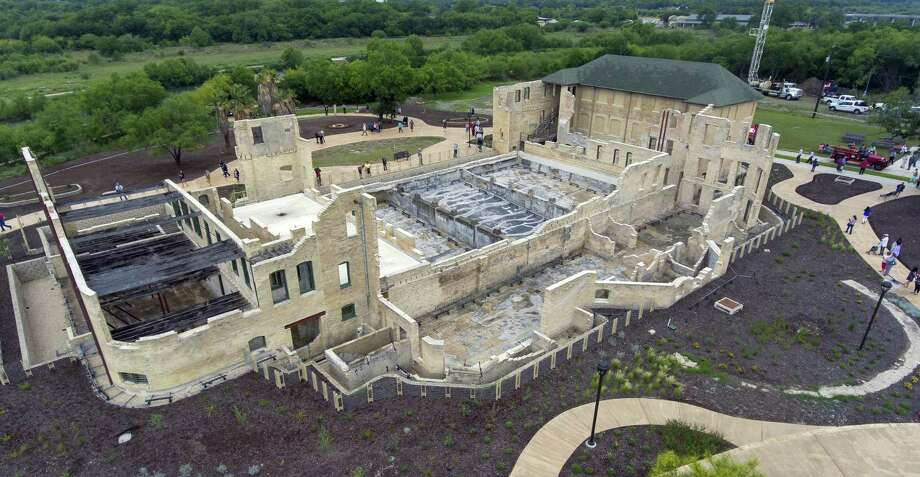 The former Hot Wells Hotel is seen Tuesday, April 30, 2019, during the grand opening of the Hot Wells of Bexar County park. The once-crumbling building has been stabilized by Bexar County as part of turning the approximately 4-acre site into a park which is connected to the Mission Reach section of the San Antonio River Walk. Photo: William Luther, Staff / Staff Photographer / ©2019 San Antonio Express-News