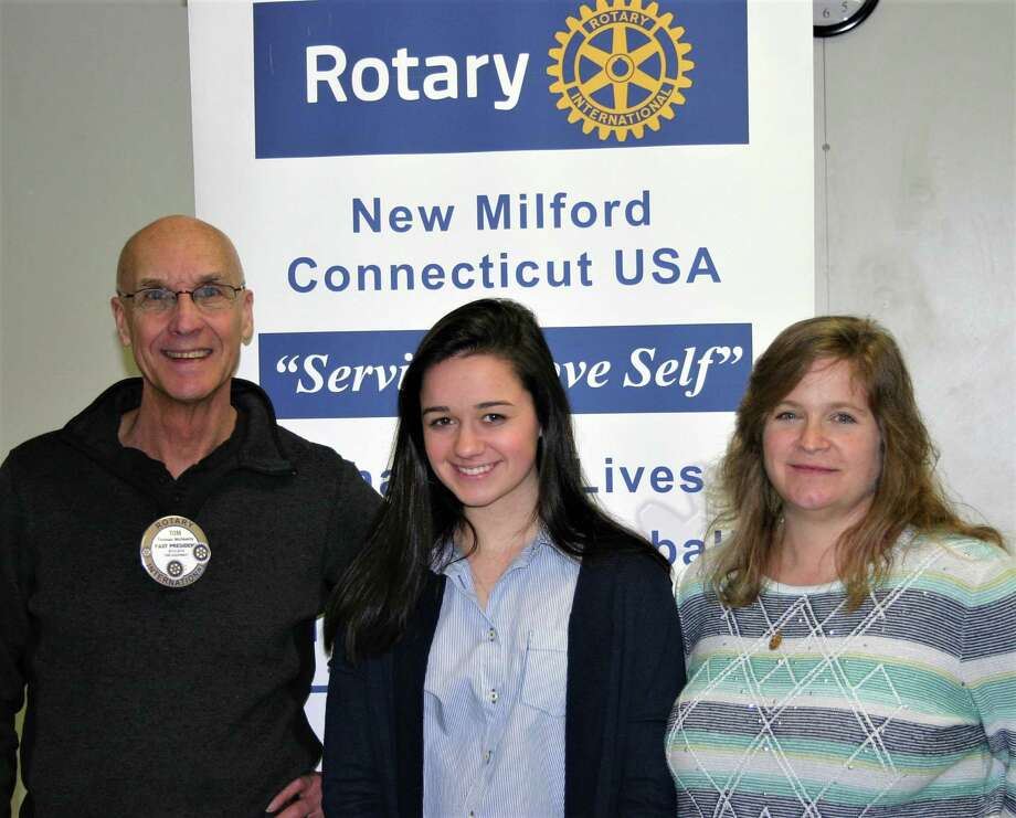 The Rotary Club of New Milford recently presented its March Student of the Month Award to New Milford High School senior Michaela Zegarelli. Michaela has received the NMHS Emerging Artist Award, is a member of the Spanish Honor Society and SADD, is a NAMES facilitator, a physical education leader and a child development intern. She also assists with the Senior Art Show, plays NMHS field hockey and works with special needs students. She will attend Springfield College to study communication science and disorders, with a career goal of working in speech and language pathology. Michaela is shown above with, from left to right, Rotarian Tom McSherry and NMHS art teacher Kristi Soucie. Photo: Courtesy Of Rotary Club Of New Milford / The News-Times Contributed