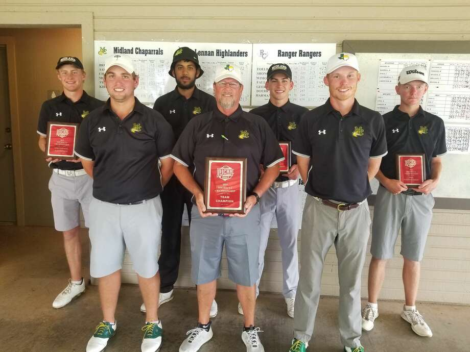 The Midland College men's golf team poses after winning the NJCAA District 2 Championship at Abilene's Diamondback Golf Course on Tuesday. From left to right, Callum Bruce, Alex Motes, Aadam Syed, head coach Walt Williams, Max Charles, Joey Kirk and George Saunders. Photo: Courtesy Photo