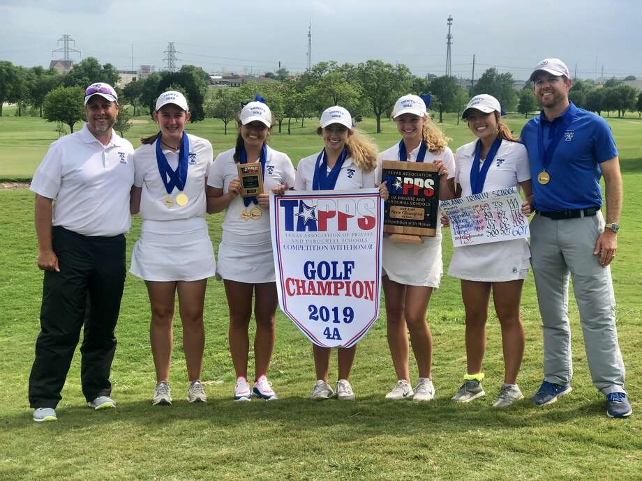 The Trinity girls golf team pose after its dominating victory at the TAPPS 4A state championship tournament at Waco's Cottonwood Creek Golf Course. From left to right, coach Kris Crow, Courtney Evans, Alexandra Escamilla, Aspen Escamilla, Brooke Widner, Jules Crow and head coach Neil Dufford. Photo: Courtesy Photo