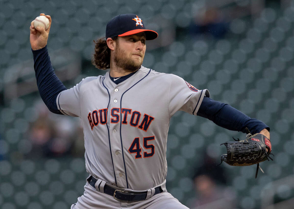 Houston Astros starting pitcher Gerrit Cole works in the first inning against the Minnesota Twins on Tuesday, April 30, 2019, Target Field in Minneapolis.
