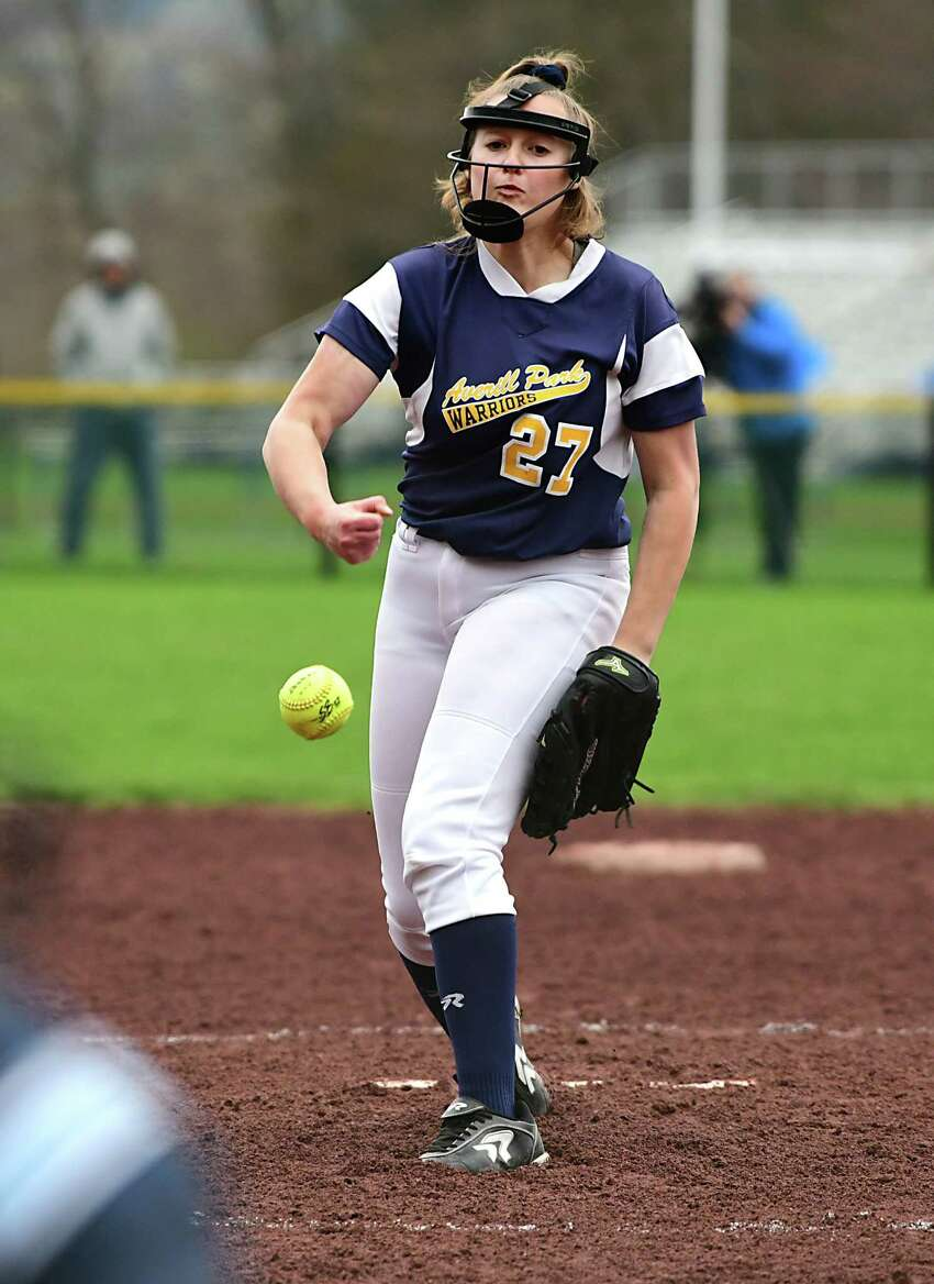 Averill Park pitcher Jadyn Lee throws the ball during a softball game against Ballston Spa on Tuesday, April 30, 2019 in Averill Park, N.Y. (Lori Van Buren/Times Union)