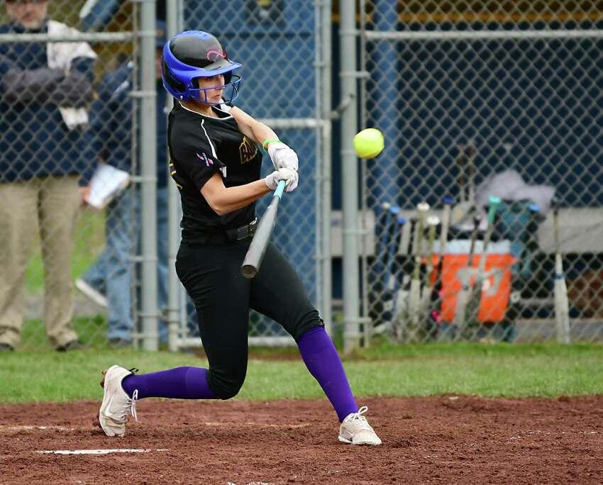 Ballston Spa's Caroline Srokowski hits the ball over the fence for a home run during a softball game against Averill Park on Tuesday, April 30, 2019 in Averill Park, N.Y. (Lori Van Buren/Times Union)