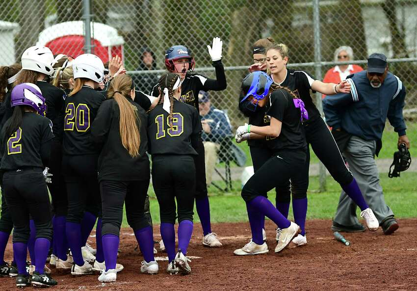 Ballston Spa's Caroline Srokowski is greeted at home plate by her teammates after hitting a home run during a softball game against Averill Park on Tuesday, April 30, 2019 in Averill Park, N.Y. (Lori Van Buren/Times Union)