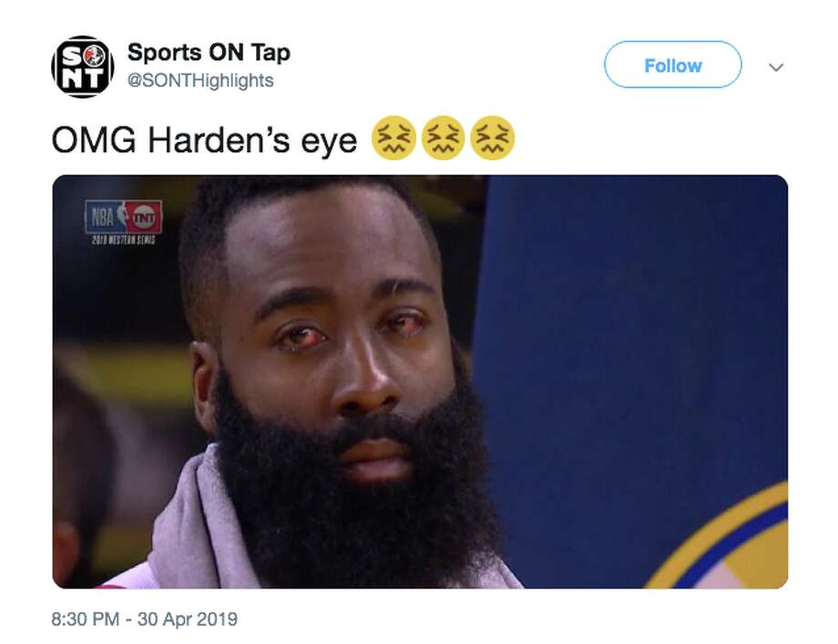 1b9b77d9740 James Harden s bloodshot eyes terrified a number of Twitter users and  became a meme. Photo