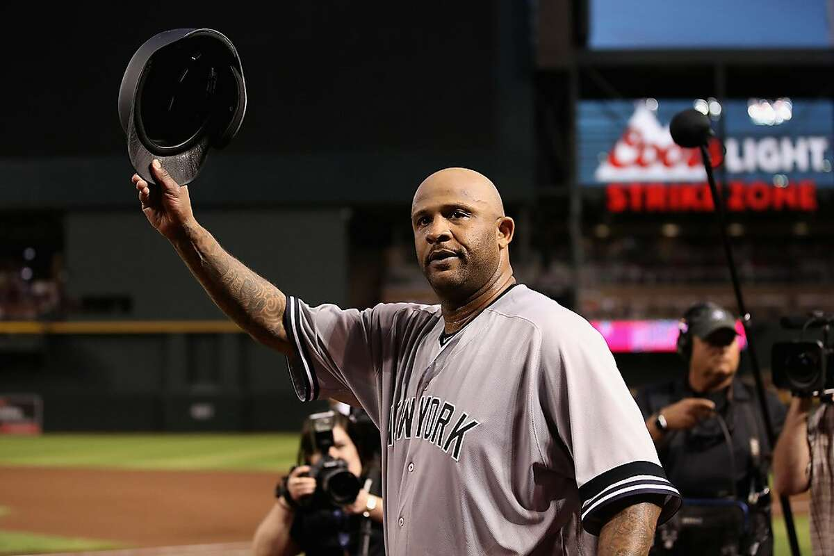 PHOENIX, ARIZONA - APRIL 30: Pitcher CC Sabathia #52 of the New York Yankees waves to the crowd after recording his 3,000th career strike out against John Ryan Murphy (not pictured) of the Arizona Diamondbacks during second inning of the MLB game at Chase Field on April 30, 2019 in Phoenix, Arizona. (Photo by Christian Petersen/Getty Images)