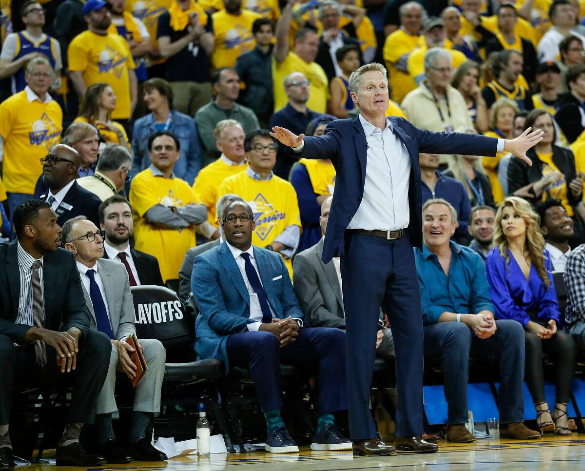 Golden State Warriors head coach Steve Kerr is seen in the fourth quarter during game 2 of the Western Conference Semifinals between the Golden State Warriors and the Houston Rockets at Oracle Arena on Tuesday, April 30, 2019 in Oakland, Calif.