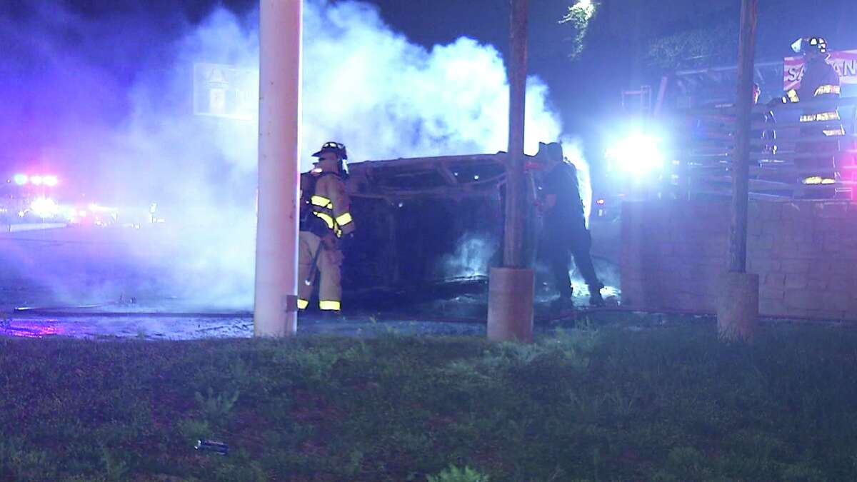 The woman hit a guard rail near Bandera and Evers just after 3 a.m. and rolled her vehicle, which then ignited in flames, according to police.