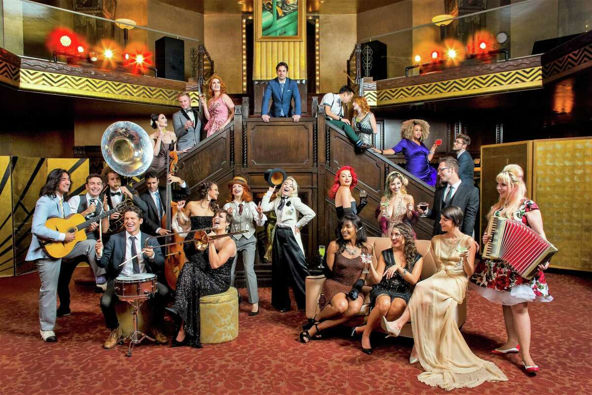 A group shot of the various performers in Postmodern Jukebox.