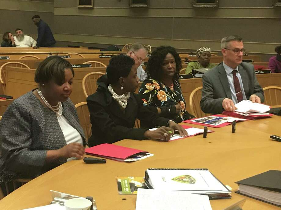 Board of Education officials, from left, Assistant Superintendent Keisha Hannans; Superintendent of Schools Carol Birks; Business Director Linda Hannans; and COO Mike Pinto, at an April 30, 2019, budget hearing. Photo: Brian Zahn / Hearst Connecticut Media