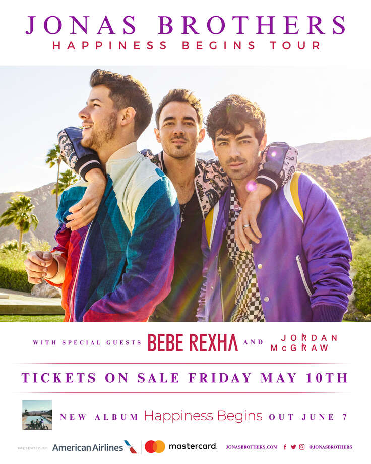 Hours after posting teaser graphic to the AT&T Center social media accounts, the venue confirmed Wednesday morning that the newly reunited Jonas Brothers will bring their Happiness Begins Tour to San Antonio on Sept. 27. Photo: Courtesy, Spurs Sports And Entertainment