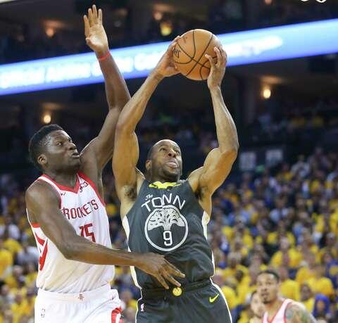 ffd38f05334 Golden State Warriors guard Andre Iguodala (9) puts up a shot around  Houston Rockets