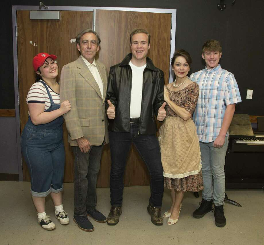 "From left, Hannah Gilchriest as Joanie, Rick Sellers as Howard, Cain Hamilton as Fonzie, Cheryl Campbell as Marion and Derek Greenbank as Richie Cunningham in The Players Theatre Company's ""Happy Days: The New Musical"" which continues at the Owen Theatre through May 26. Photo: Photo By Brad Meyer"
