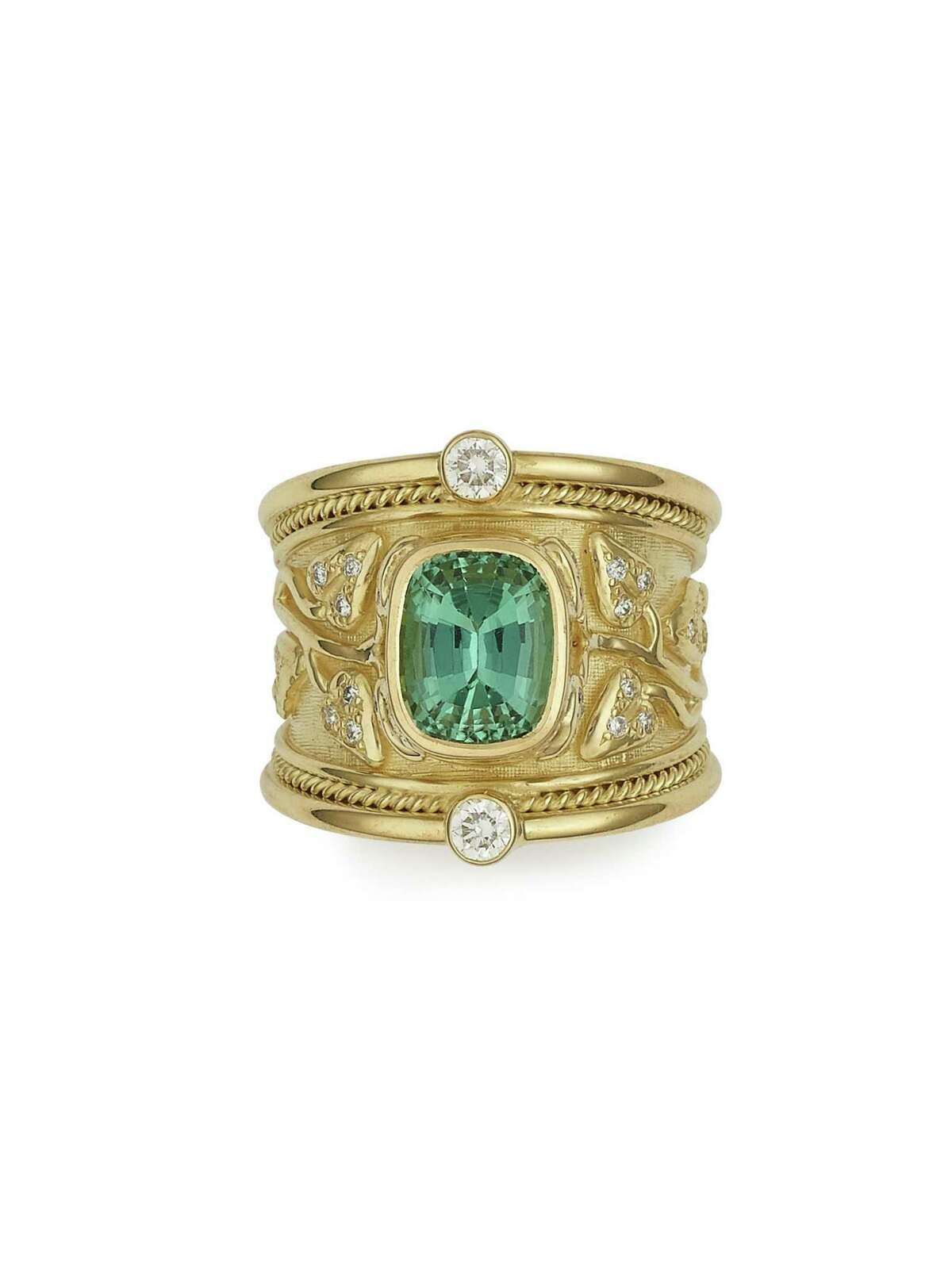 Elizabeth Gage green tourmaline tapered templar ring, $16,200
