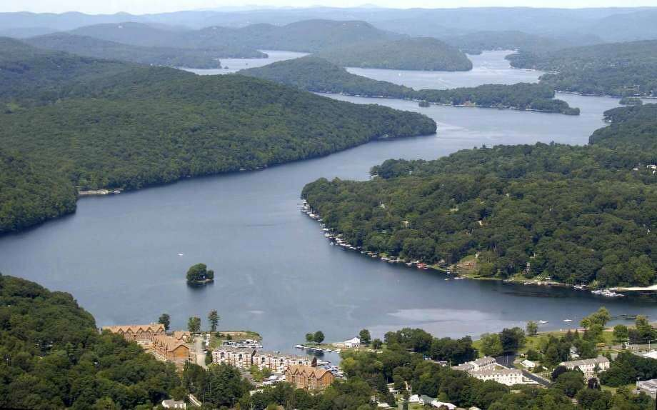 An aerial view of Candlewood Lake, which is borderd by Danbury, Brookfield, New Fairfield, Sherman and New Milford. Photo: File Photo / David Harple