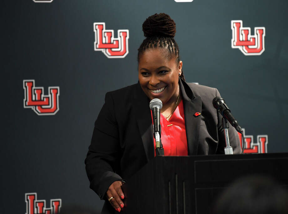 Aqua Franklin addresses the media and guests after being named Lamar's new women's basketball coach during a conference on Wednesday.  Photo taken Wednesday, 5/1/19 Photo: Guiseppe Barranco/The Enterprise / Guiseppe Barranco ©