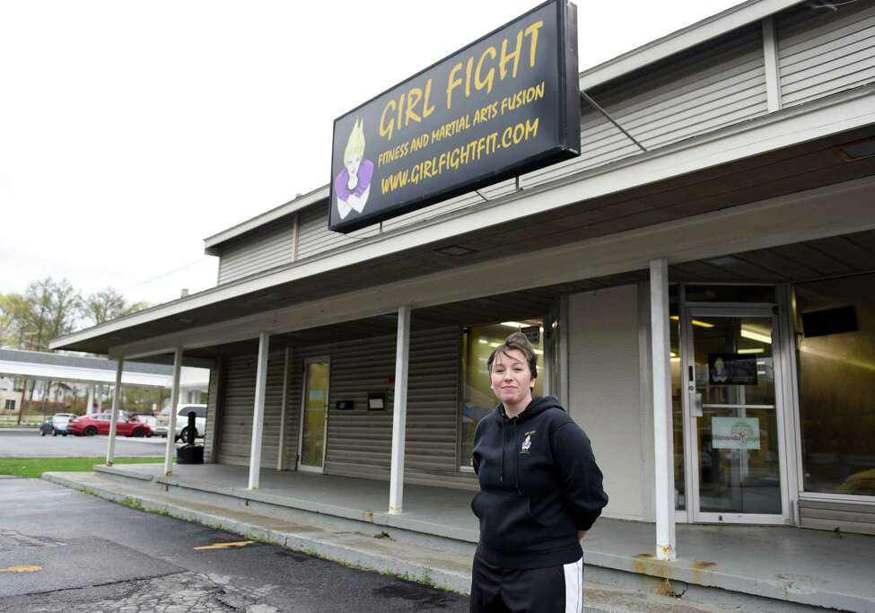 Girl Fight Fitness owner Amanda Gonzalez-Barone stands for a portrait on Wednesday, May 1, 2019 outside of Girl Fight Fitness in Burnt Hills, NY. (Phoebe Sheehan/Times Union)