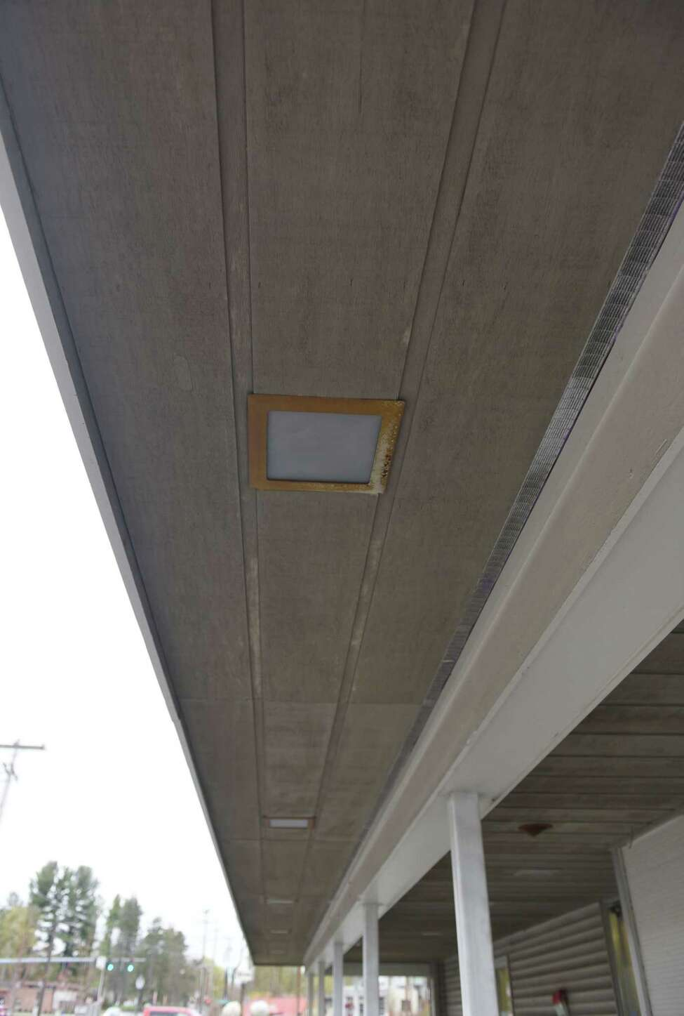 A view of the broken overhead lights on the ceiling of the outside of Girl Fight Fitness on Wednesday, May 1, 2019 in Burnt Hills, NY. (Phoebe Sheehan/Times Union)