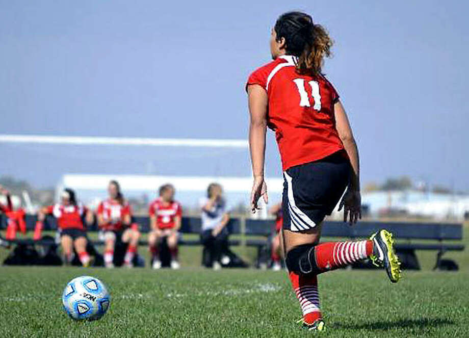 The Blackburn College women's soccer program turns 25 years old this year. Above, a Blackburn player dribbles the ball during a 2015 game against Westminster in Carlinville. Photo: Blackburn College Athetics