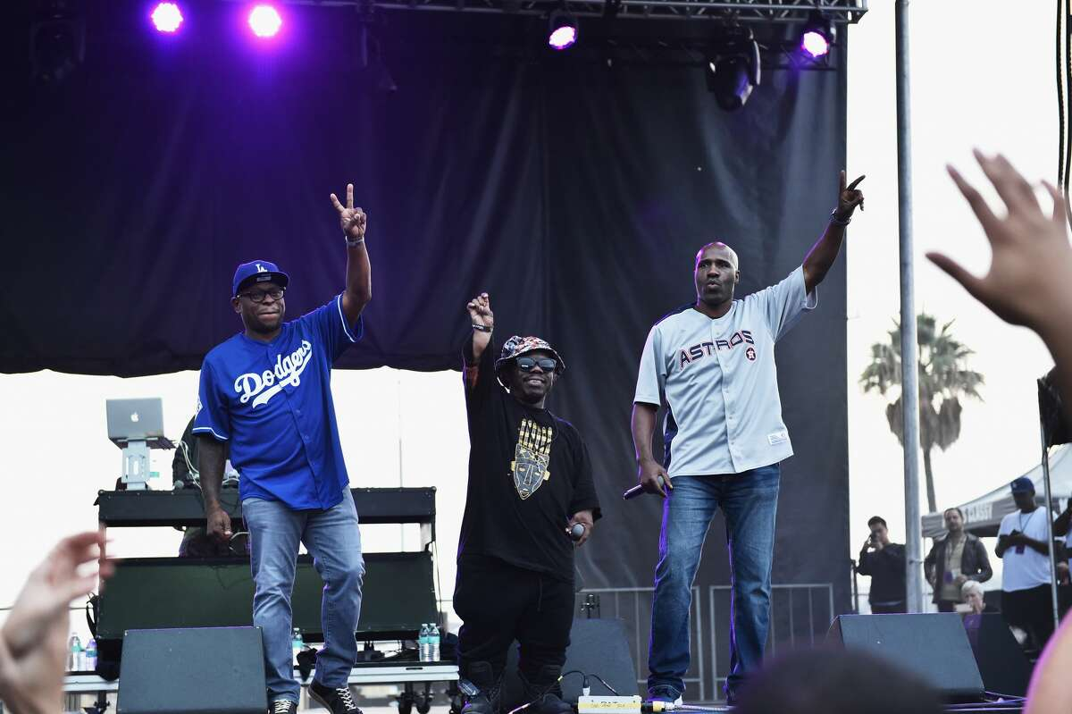 SAN PEDRO, CA - OCTOBER 29: (L-R) Scarface, Bushwick Bill and Willie D of the Geto Boys perform on stage at the Growlers 6 festival at the LA Waterfront on October 29, 2017 in San Pedro, California. (Photo by Matt Cowan/Getty Images)