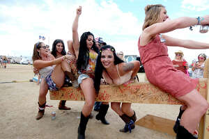 Festival goers attend the 2019 Stagecoach Festival at Empire Polo Field on April 28, 2019 in Indio, California.