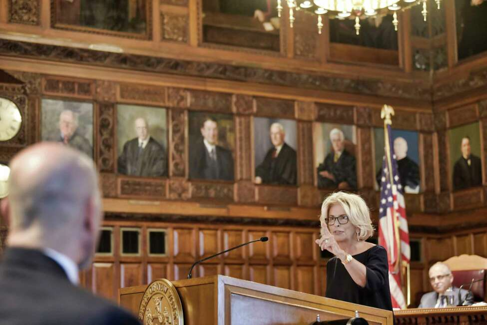 Chief Judge of the Court of Appeals and of the State of New York, Janet DiFiore, addresses those gathered for the annual Law Day event at the Court of Appeals on Wednesday, May 1, 2019, in Albany, N.Y. (Paul Buckowski/Times Union)