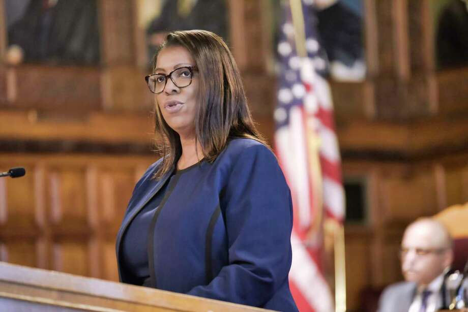 Attorney General of the State of New York, Letitia James, addresses those gathered for the annual Law Day event at the Court of Appeals on Wednesday, May 1, 2019, in Albany, N.Y.  (Paul Buckowski/Times Union) Photo: Paul Buckowski, Albany Times Union / (Paul Buckowski/Times Union)