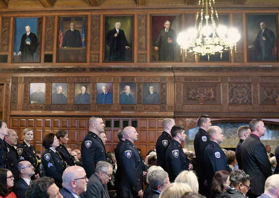 State of New York Court Officers stand to be honored for their heroism at the annual Law Day event at the Court of Appeals on Wednesday, May 1, 2019, in Albany, N.Y. (Paul Buckowski/Times Union)