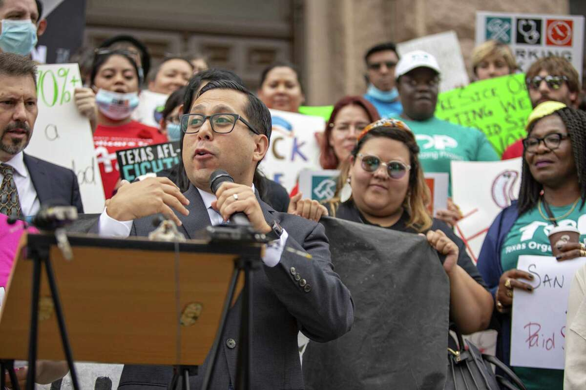 Texas House of Representative Diego Bernal speaks during a press conference in support of Working Texans for Paid Sick Time, a coalition of local and state organizations supporting policies that help working families held at the West steps of the Texas Capitol on May 1, 2019 in Austin, Texas.