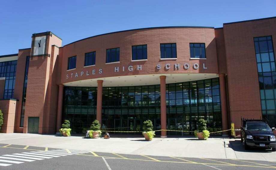 A view of Staples High School, which is located at 70 North Avenue. Photo: Paul Schott / Paul Schott / Westport News