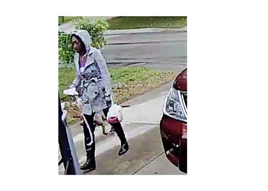 This still is from a video taken by a doorbell camera April 24, showing a person who tied up a dog at a home in the 8500 block of Pioneer Gold and walked off. San Antonio Animal Care Services is looking for this person. To provide information, call 311. Photo: Courtesy /ACS