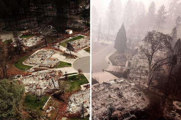 A composite image before and after the Camp Fire: LEFT: The flattened homes at Mountain Meadow Court at Country Oak Drive, Thursday, Nov. 15, 2018, in Paradise, Calif. As of this morning, the Camp Fire has burned 140,000 acres. The wildfire is 40% contained. 56 people have died.RIGHT: The flattened homes at Mountain Meadow Court at Country Oak Drive, Thursday, Nov. 15, 2018, in Paradise, Calif. The U.S. Senate is at an impasse over a federal disaster aid bill, which includes badly needed aid for fire victims in California.