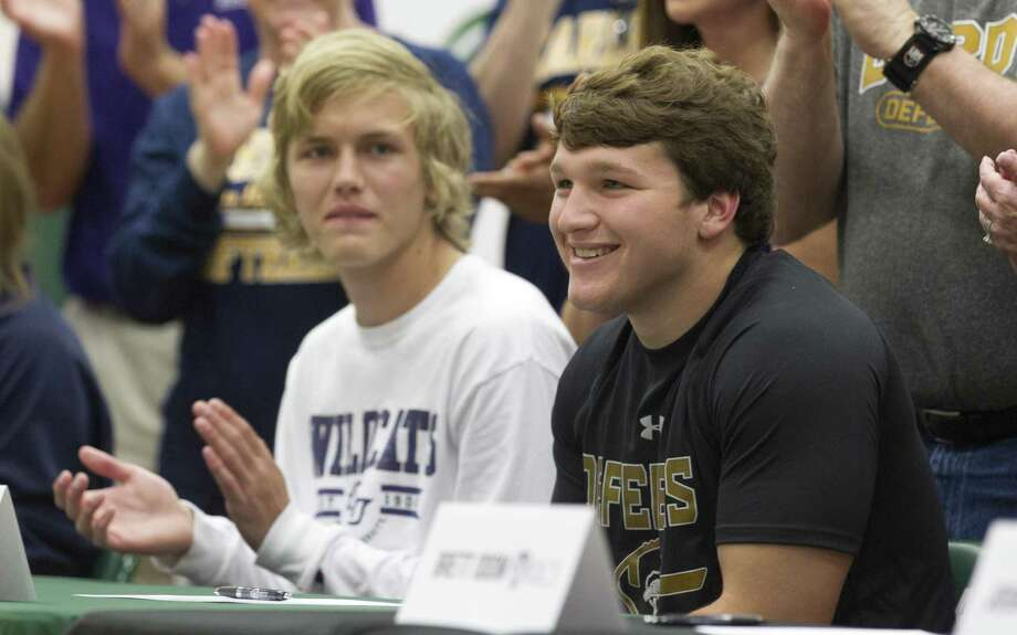 Pierce McBride smiles during a signing ceremony at The Woodlands Christian Academy, Wednesday, May 1, 2019, in The Woodlands. McBride signed to play football for Dordt College. Photo: Jason Fochtman, Houston Chronicle / Staff Photographer / © 2019 Houston Chronicle