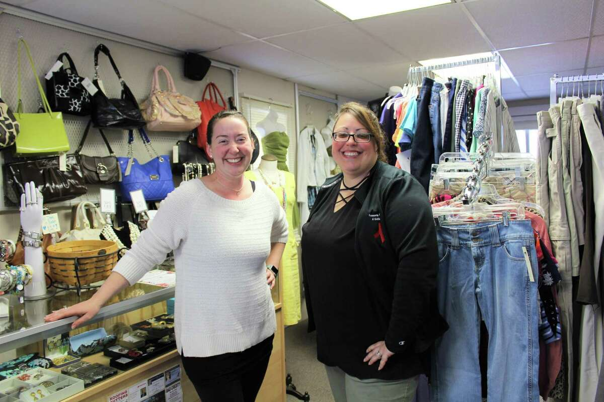 Allyson Kittredge, right, with Sarah Lauretti Toomey in LA Consignment, where specifically marked consignment items sold will benefit the Community Health & Wellness Center's clothing voucher program.