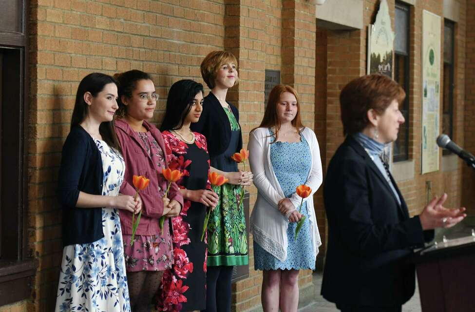 Mayor Kathy Sheehan introduces the five finalists for the 2019 Albany Tulip Queen on Wednesday, May 1, 2019 at the Washington Park Lakehouse in Albany, NY. The finalists from left to right are Emily Barcia-Varno, 22, of Glenmont; Isabella Burnett, 19, of Albany; Parneet Kaur, 19, of Green Island; Megan Morrill, 23, of Latham; and Michaela Schramm, 18, of Loudonville. (Phoebe Sheehan/Times Union)