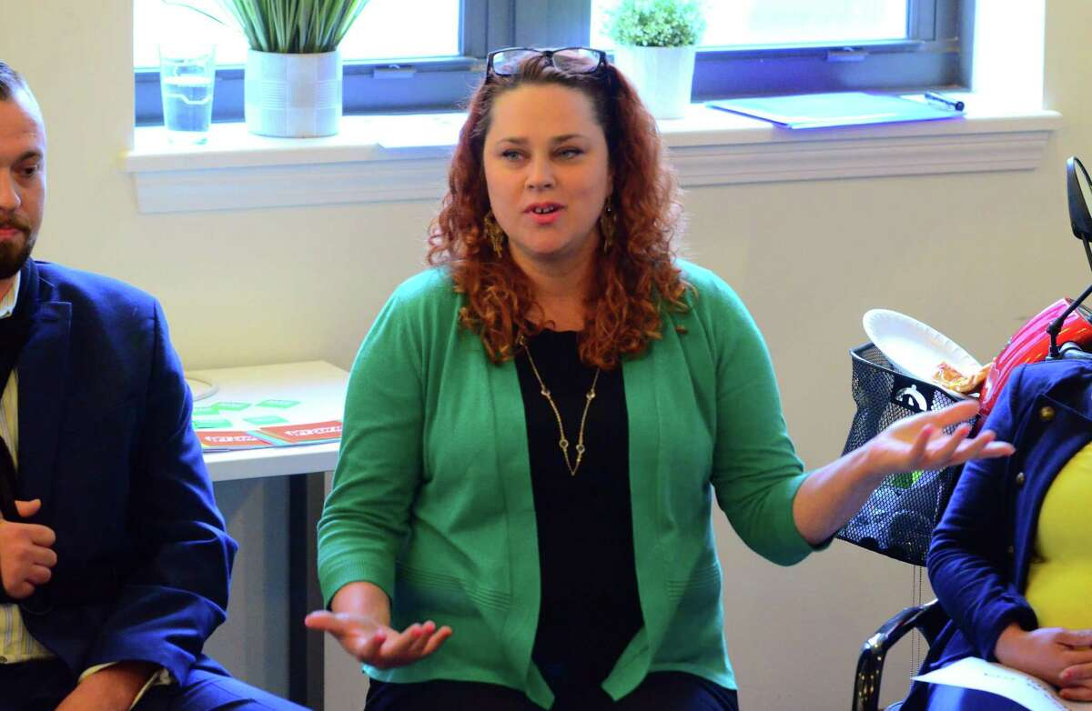 Kate Rivera speaks during a candidate meet and greet by civic group Bridgeport Generation Now at the co-working cooperative B:Hive Bridgeport in downtown Bridgeport, Conn., on Tuesday April 30, 2019. She was running in a special election to replace the late Ezequiel Santiago.