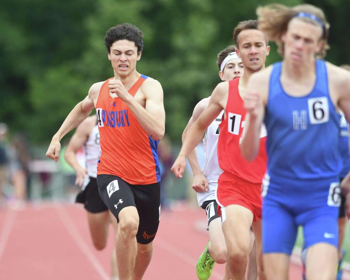 Danbury's Malcolm Going during the 800 at the State Open Track Championships at Willow Brook Park in New Britain, June 4, 2018.