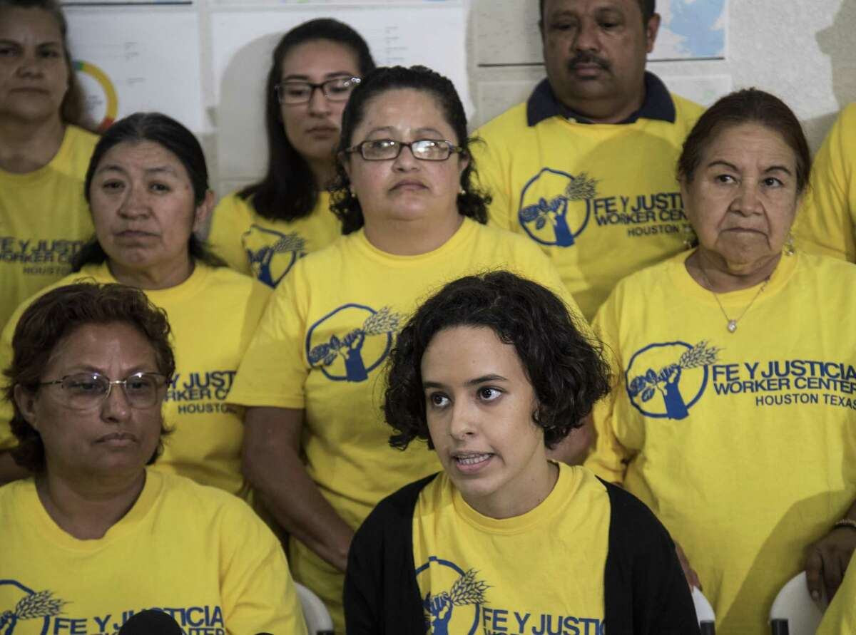 Marianela Acuña Arreaza, executive director of Fe Y Justicia, talks about labor violations their members experienced across Houston in 2018 at the Worker Center on Wednesday, May 1, 2019, in Houston.