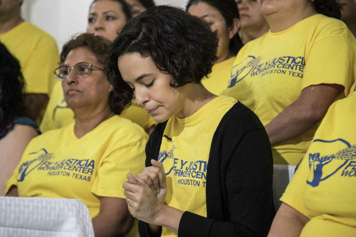 Marianela Acuña Arreaza, executive director of Fe Y Justicia, pauses as she talks about labor violations their members experienced across Houston in 2018 at the Worker Center on Wednesday, May 1, 2019, in Houston.