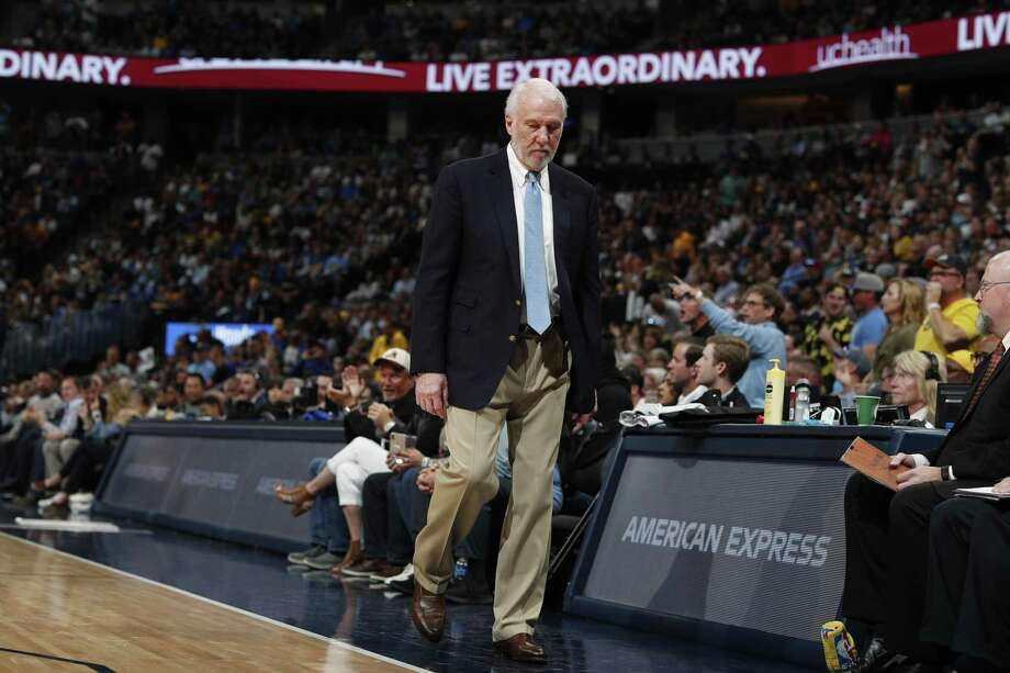 San Antonio Spurs head coach Gregg Popovich in the first half of Game 7 of an NBA basketball first-round playoff series Saturday in Denver. Don't be disappointed in this season. The Spurs made the playoffs, with players who will only get better. Photo: David Zalubowski /Associated Press / Copyright 2019 The Associated Press. All rights reserved.