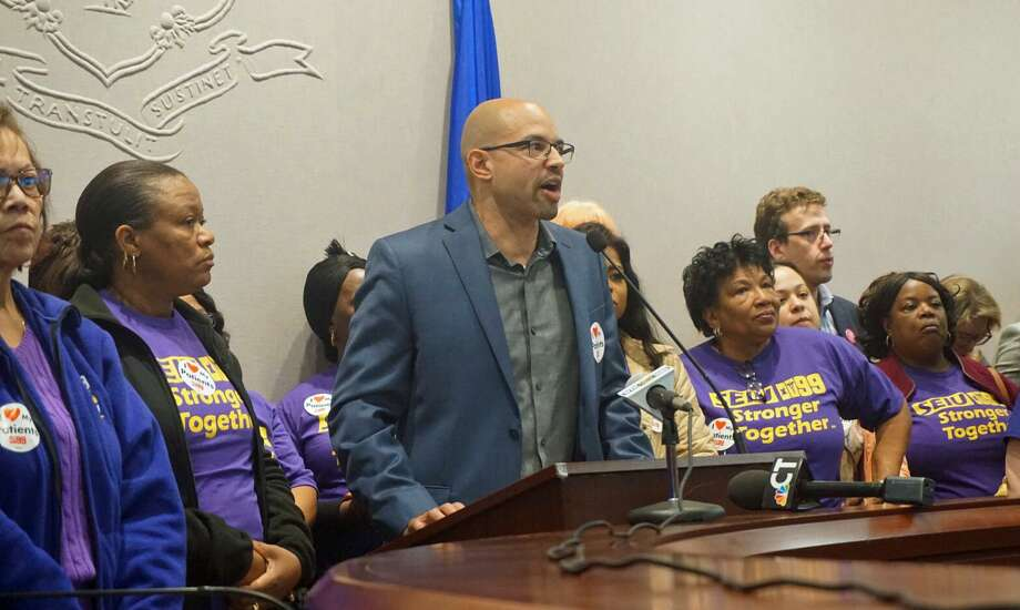 Rob Baril, president of SEIU 1199 New England, stood with nursing home workers who came to the state Capitol in Hartford, Conn. on Wednesday May 1, 2019 to renew their threats of a strike. Photo: Emilie Munson / Hearst Connecticut Media / Connecticut Post