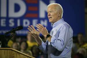 Former Vice President Joe Biden speaks at a Teamsters hall in Pittsburgh Monday. Biden used his first address as a presidential candidate Monday to sketch out his economic plans, vowing to rebuild the country's middle class in a state that helped hand President Donald Trump the White House three years ago.