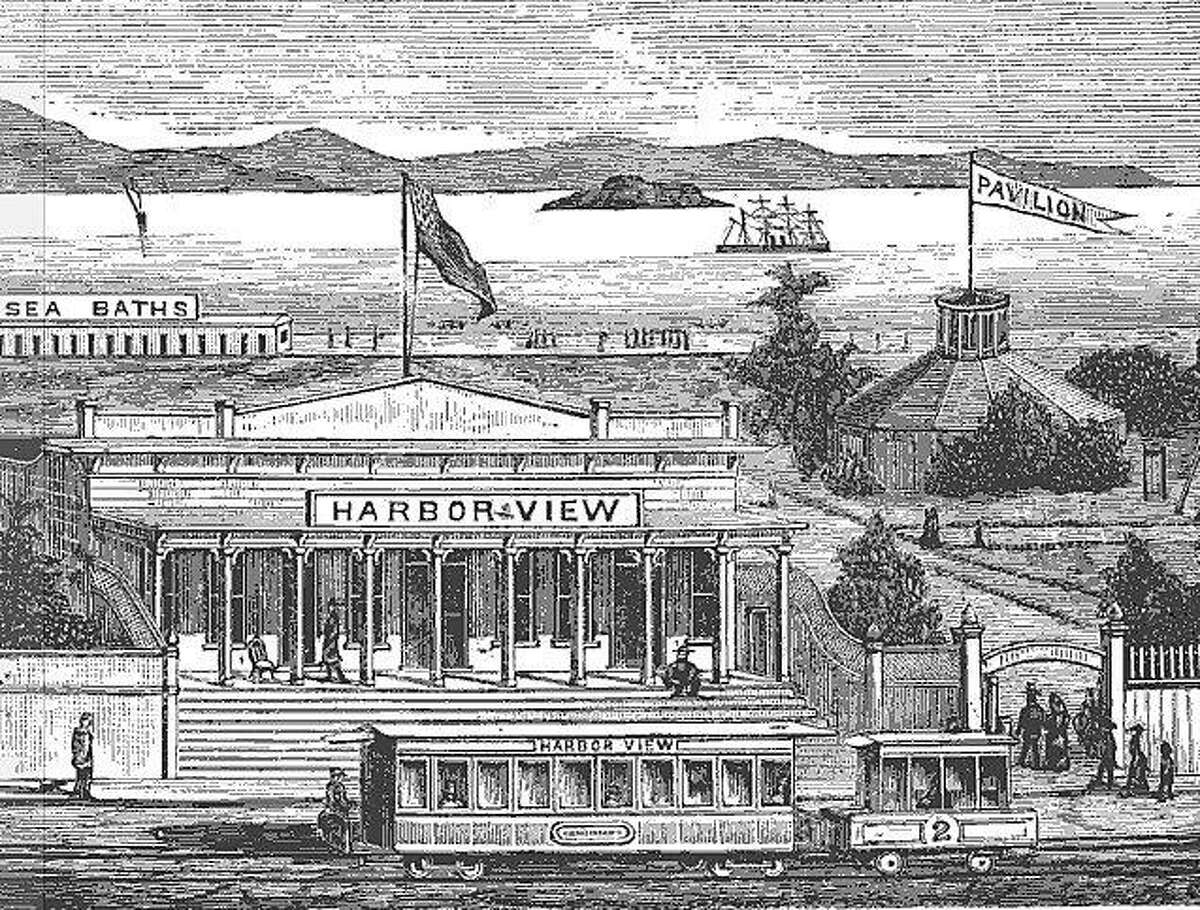 """An illustration of the Harbor View resort on San Francisco's Strawberry Island, taken from the 1884 book """"Health Seekers, Tourists and Sportsmen's Guide to the Seashore."""""""